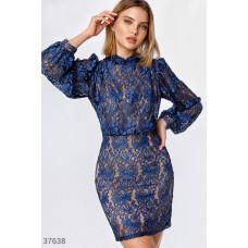 Ажурное синее платье