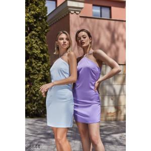 Шелковое платье-мини сиреневого оттенка