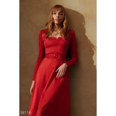 Алое замшевое платье-миди